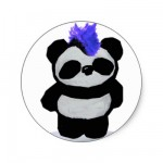Punk Rock Panda Round Sticker from Zazzle.com