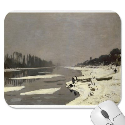 Ice Floes on the Seine at Bougival (1867-1868) Mousepads
