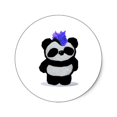 Punk Rock Panda Round Stickers