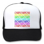 OMNOMNOMNOM 4 Rainbow 2 Mesh Hats from Zazzle.com