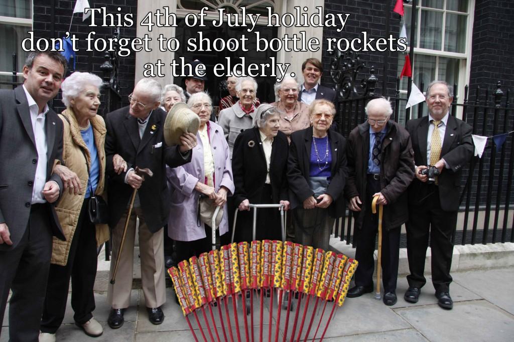 Elderly and Bottle Rockets